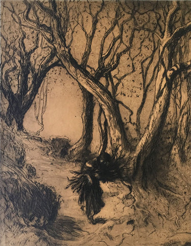 Hal Hurst RBA RI, Woman Carrying Firewood - early 20th-century etching print