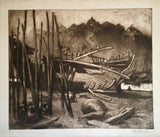 Hal Hurst RBA RI, Rye Harbour - Original early 20th-century etching print