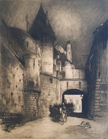 Hal Hurst RBA RI, Castle & Dragoons - Original early 20th-century etching print