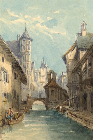 Canal in Bruges - Original mid-19th-century watercolour painting