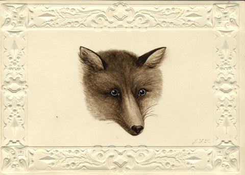 J.F.T., Fox's Head Portrait - Original mid-19th-century watercolour painting
