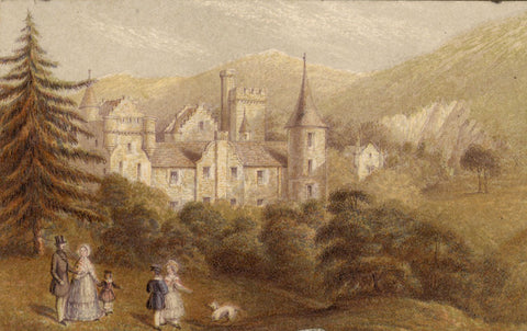 Scottish Castle with Figures - Original mid-19th-century watercolour painting