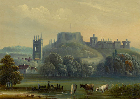 Castle on Mount with Cows Drinking - Original mid-19th-century gouache painting