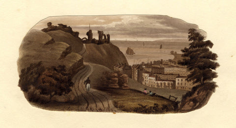 Castle on a Headland - Original mid-19th-century etching print