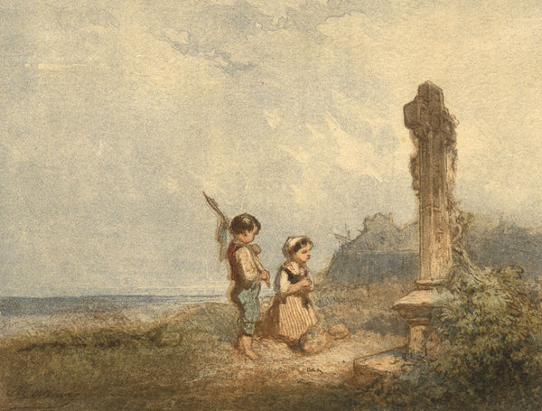 Children and Wayside Cross - Original mid-19th-century watercolour painting