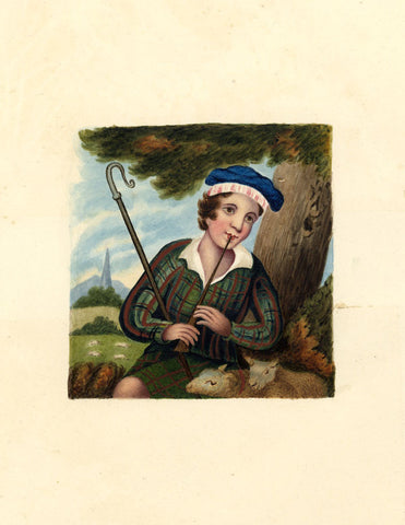 Scottish Shepherd Boy - Original mid-19th-century watercolour painting