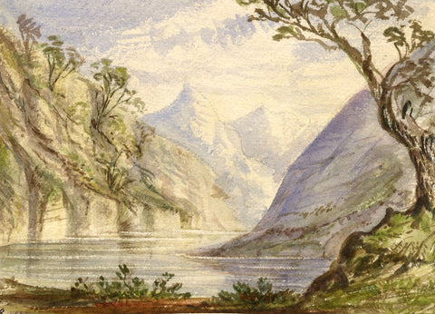 ?.B., Mountains and Lake - Original 1856 watercolour painting