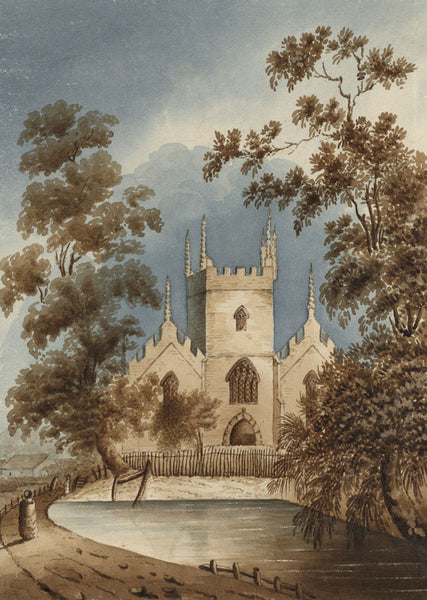 Margaret Webster, Church & Pond - Original mid-19th-century watercolour painting