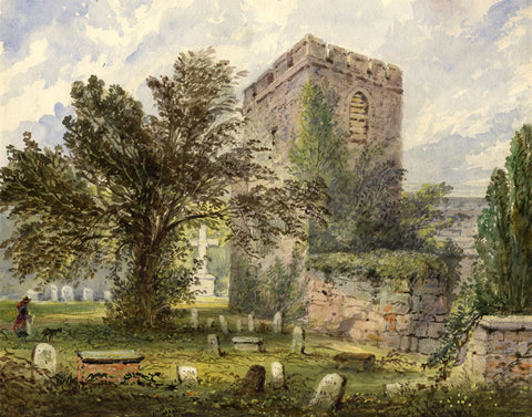 Church & Graveyard with Figure - Original mid-19th-century watercolour painting