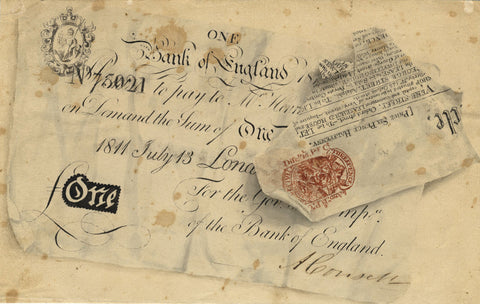 Trompe L'oeil Pound Note - Original mid-19th-century watercolour painting