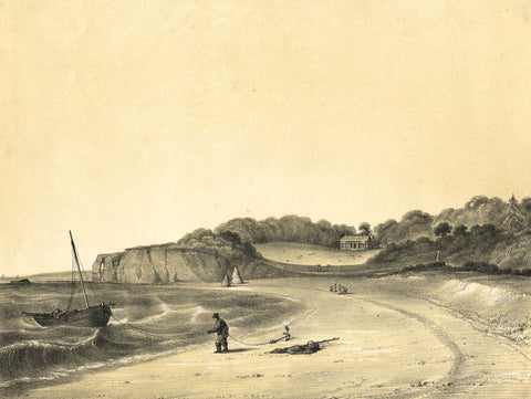 Anchored Boat off Seashore - Original mid-19th-century mezzotint print