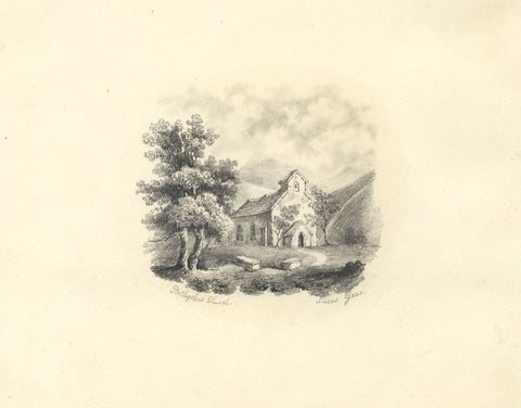 Lucas Gear, St Mary's Church, Beddgelert, Wales - 19th-century graphite drawing