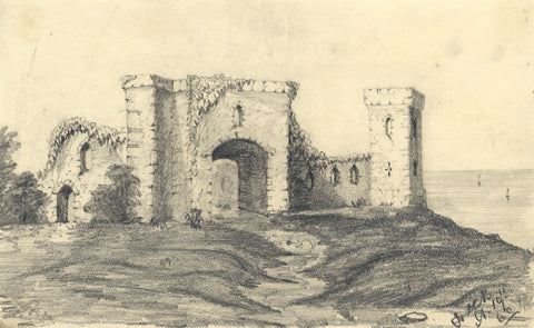 F.A.C.B., Castle Ruins - Original mid-19th-century graphite drawing