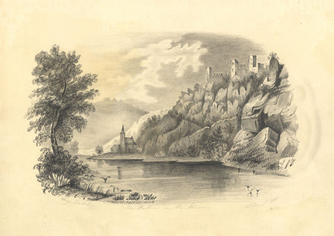 Lucy Cranbrook, The Brothers Castle, Rhine - Original 1858 graphite drawing