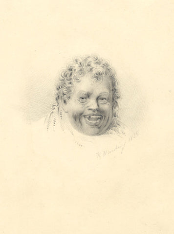 H. Harding, Laughing Man Portrait - Original 1825 graphite drawing