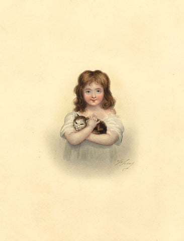 Young Girl with her Cat - Original mid-19th-century watercolour painting
