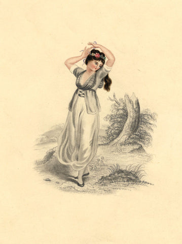 Young Lady Tying her Hair - Original mid-19th-century watercolour painting