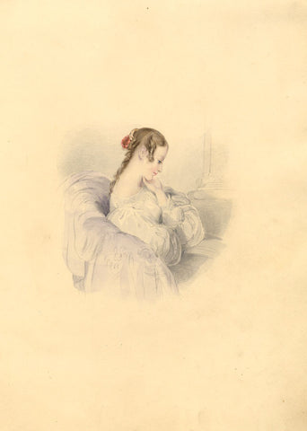 Young Lady Lost in Thought - Original mid-19th-century watercolour painting