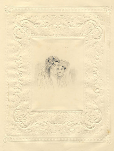 Turkish Ladies Portrait - Original mid-19th-century graphite drawing