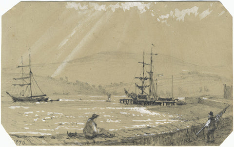 Tall Ships in Coastal Harbour - Original 1870 graphite drawing