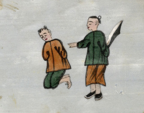 Man Executing Prisoner Pith Painting - Original early 19th-century watercolour