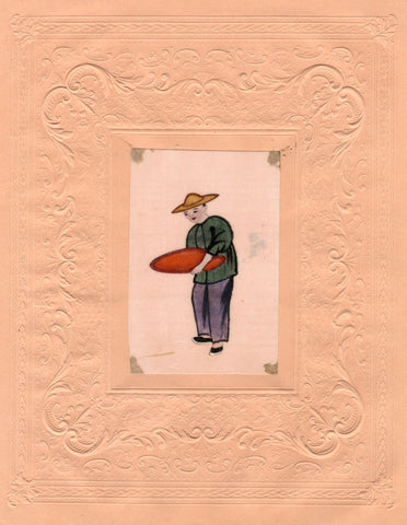 Man with Dish Chinese Pith Painting - early 19th-century watercolour