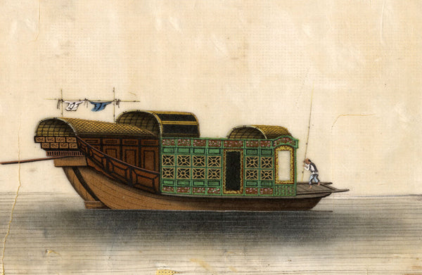 Chinese Junk Boat Pith Painting - early 19th-century watercolour painting