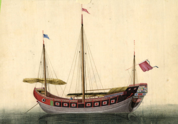 Sailing Boat Chinese Pith - Original early 19th-century watercolour painting