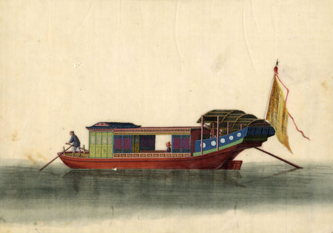 Boat with Flag Chinese Pith - Original early 19th-century watercolour painting