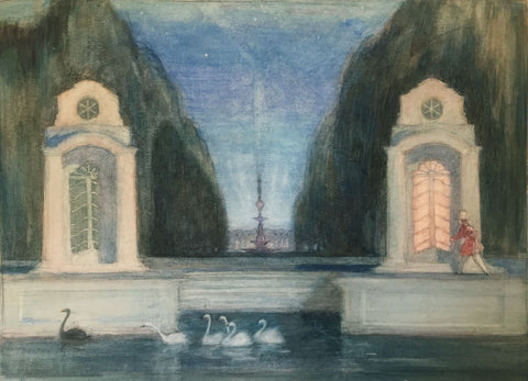 Attrib. Mstislav Dobuzhinsky, Theatrical Set Design - 1930s watercolour painting