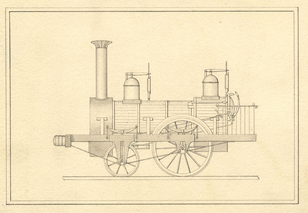 Steam Locomotive - Original early 19th-century pen & ink drawing