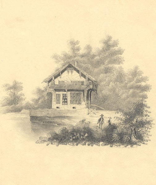 Swiss Chalet with Figures - Original early 19th-century graphite drawing
