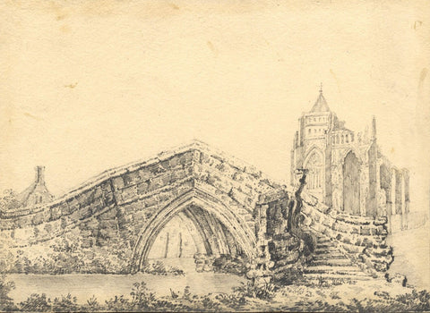 A.T.C, Croyland Abbey, Lincolnshire - Original 19th-century graphite drawing