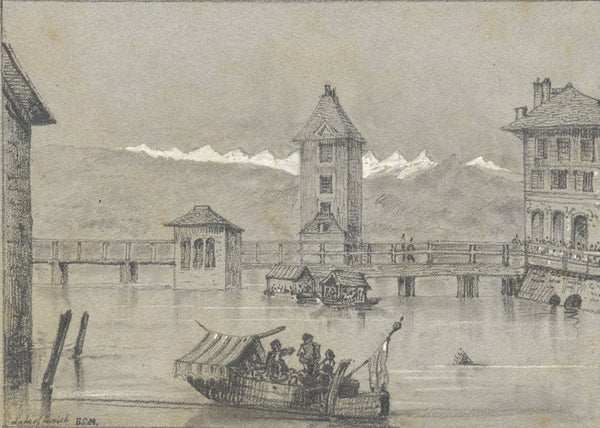 B.S.M., Lake Zurich, Switzerland - Original early 19th-century graphite drawing