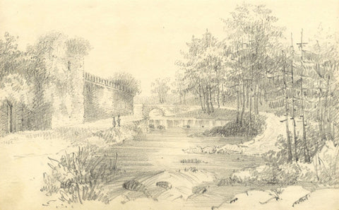 Castle Ruins with Figures - Original early 19th-century graphite drawing