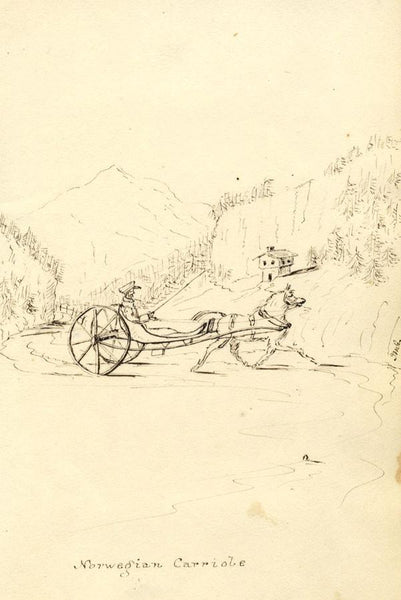 Norwegian Carriole & Horse - Original early 19th-century pen & ink drawing
