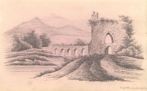Claudian Aqueduct, Rome - Original early 19th-century graphite drawing