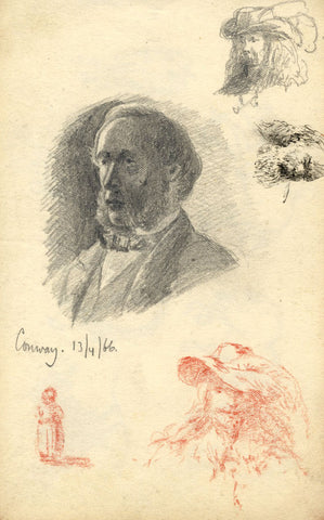 Contemporary and Historical Male Portraits - Original 1866 graphite drawing