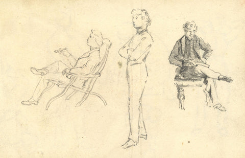 Male Figure Compositional Studies - Original late 19th-century graphite drawing