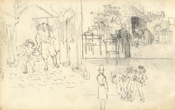 Village and Domestic Scenes - Original late 19th-century graphite drawing