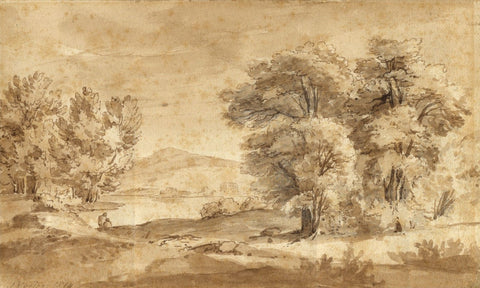 John Varley OWS, Landscape View with Figures - 1816 watercolour painting