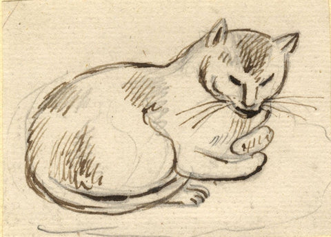 Attrib. Paul Sandby RA, Sleeping Cat - Original 18th-century pen & ink drawing