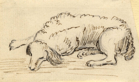 Attrib. Paul Sandby RA, Sleeping Springer Spaniel Dog - 18th-century ink drawing