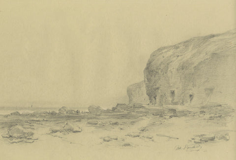 Ralph Stubbs, Sandsend Beach, N. Yorkshire - Late 19th-century graphite drawing