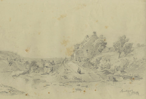 Ralph Stubbs, Cottage at Sandsend - Original late 19th-century graphite drawing