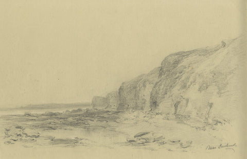 Ralph Stubbs, Beach Cliffs, Sandsend - Late 19th-century graphite drawing