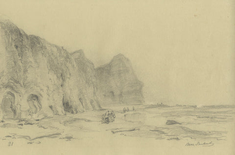 Ralph Stubbs, Beach Fishing at Sandsend - Late 19th-century graphite drawing