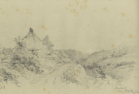 Ralph Stubbs, Sandsend Cottages - Original late 19th-century graphite drawing