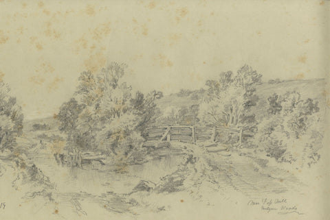 Ralph Stubbs, Fording the Beck, Sandsend - Late 19th-century graphite drawing