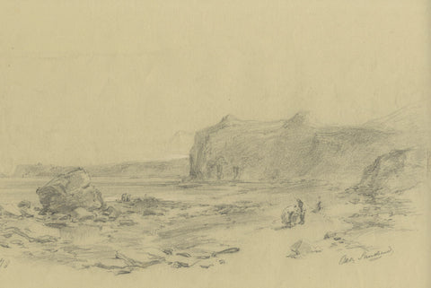 Ralph Stubbs, Figures on Beach, Sandsend - Late 19th-century graphite drawing